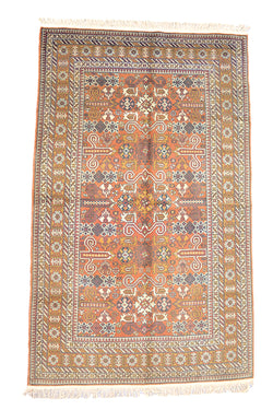 Light Orange Persian Rug | Yellow Mustard Color Tribal Geometric Motifs | Green Blue Highlights | 4 x 7 Feet | Rustic Style Rug