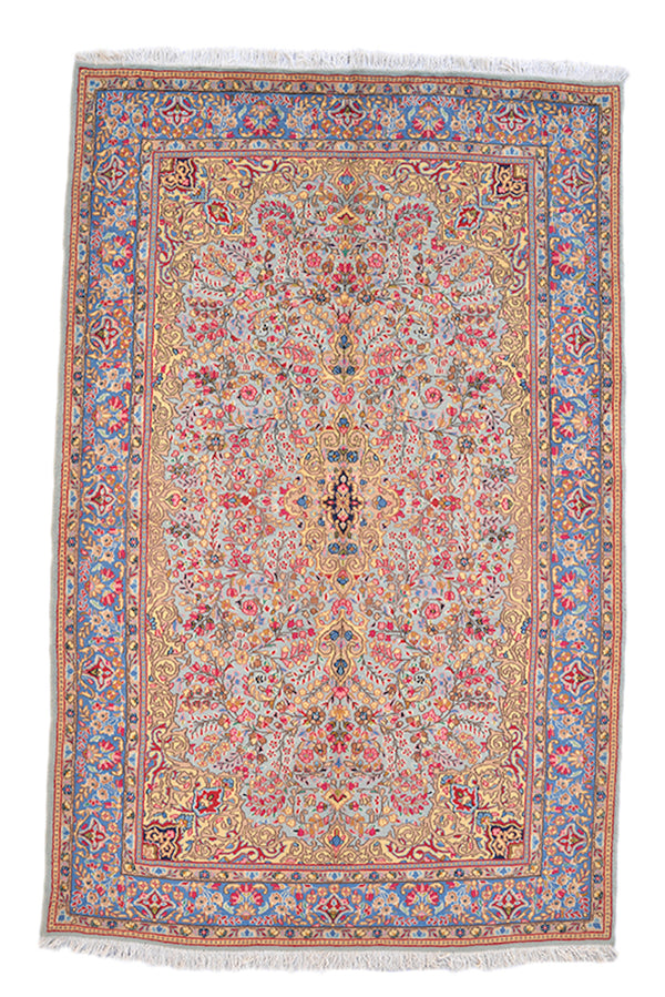 Floral Persian Style Rug | Hand Knotted Rug | Yellow Baby Light Blue Pink | 5x8 Feet | Oriental Style Antique Rug | Wool
