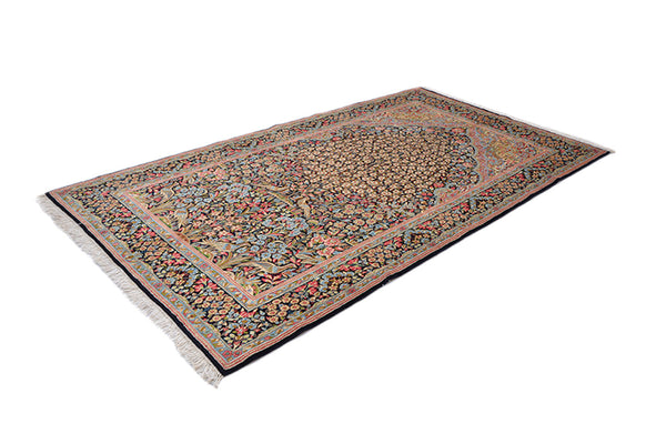 9 ft x 5 ft |  Black Oriental Persian Rug | Multi Color Yellow Pink Blue Rug | Antique Wool Rug | Fine Hand Knotted Area Rug