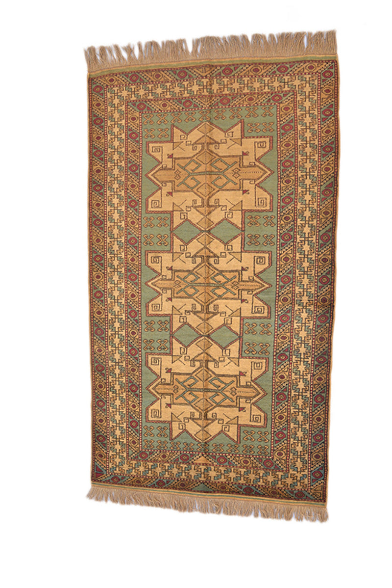 Rustic Style Kazak Rug | Teal Green Brown Area Rug | 3 x 6 Feet | Kitchen Runner Rug | Soft Low Pile Rug | Geometric Tribal Antique Rug