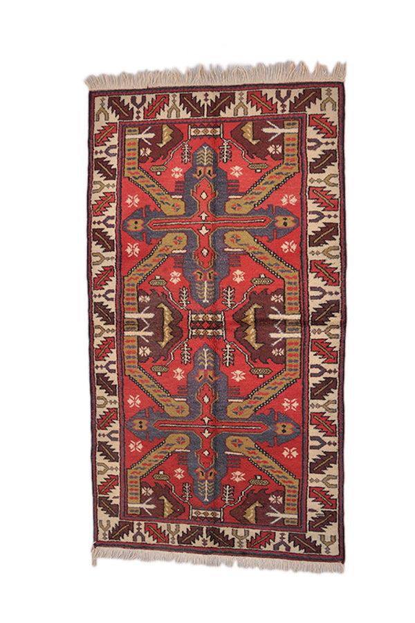 Bright Red Beige Kazak Rug | Hand Woven Rug | Geometric Tribal | 3 x 6 Ft | Kitchen Runner Rug | Wool Antique
