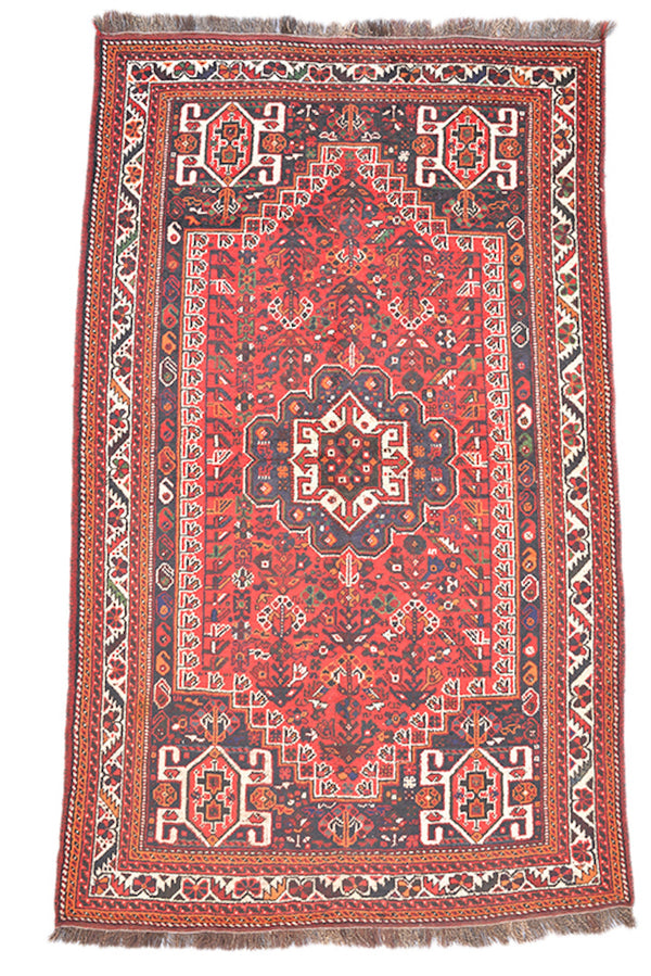 Red Boho 5x9 Persian Turkish Caucasian Area Rug | Oriental Tribal Rug | Bright Rustic Rug | Wool Antique Rug