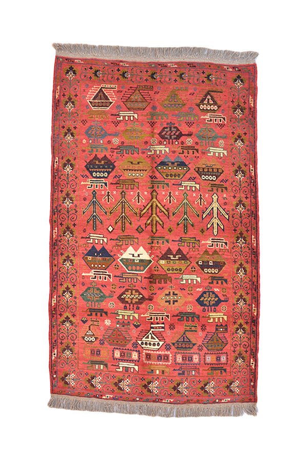 Coral Orange Tribal Rug | Afghan Area Rug | Helicopter Boat Pattern | Vintage Bright Rug | 4 x 6 Ft | Accent Wool Rug | Antique Rug