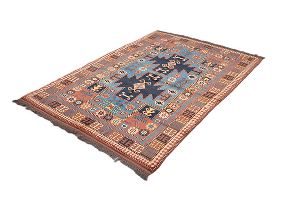 4 x 6 Blue Orange Tribal Rug | Persian Caucasian Area Rug | Geometric Design | Hand Knotted Antique Rug | Navy Medallion