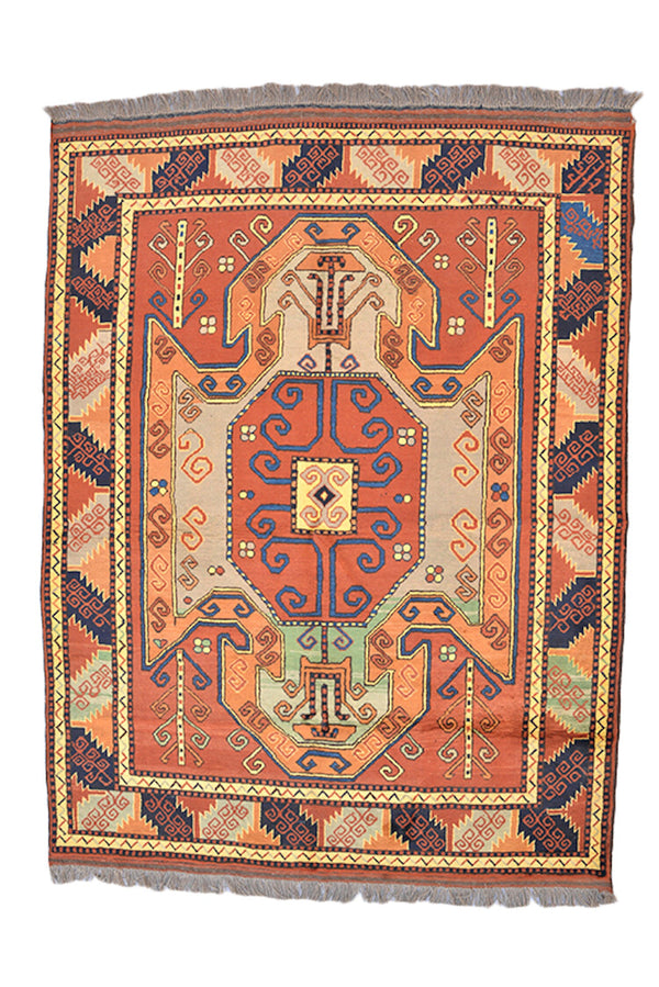 Turkish Orange Beige 5 x 7 Rug | Vintage Tribal Geometric Rug | Bright Boho Wool Rug