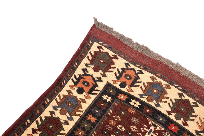 Vintage Area Rug | Red Brown Rug | 4 x 6 Ft | Geometric Tribal | Rustic Dark Toned Rug | Wool Antique Rug