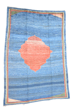 Large Blue 6x9 Rug | Vintage Minimalistic Rug | Medallion Orange Rug | Thick Soft Pile Rug | Blue Ombre Color