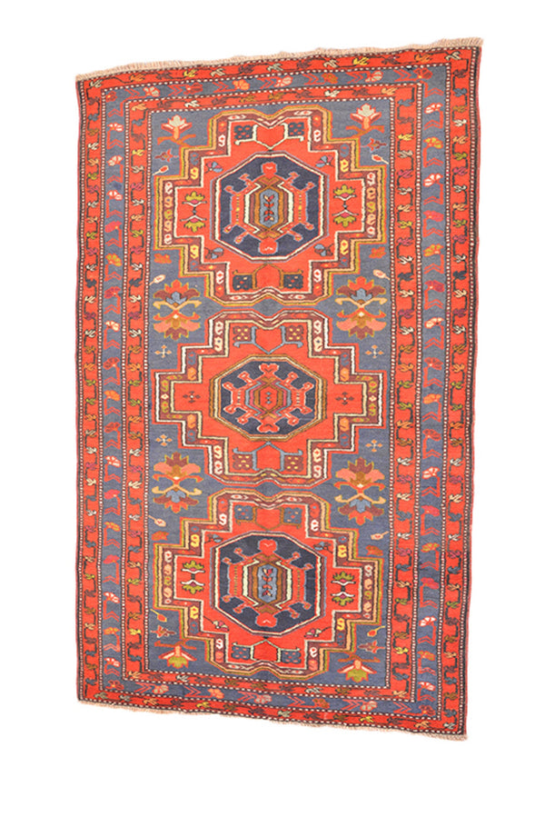 Rug Handmade Kazak, Orange Blue Grey, Tribal Geometric Pattern, 4 x 7 Feet, Oriental Ethnic Wool Rug, Bright Accent Rug