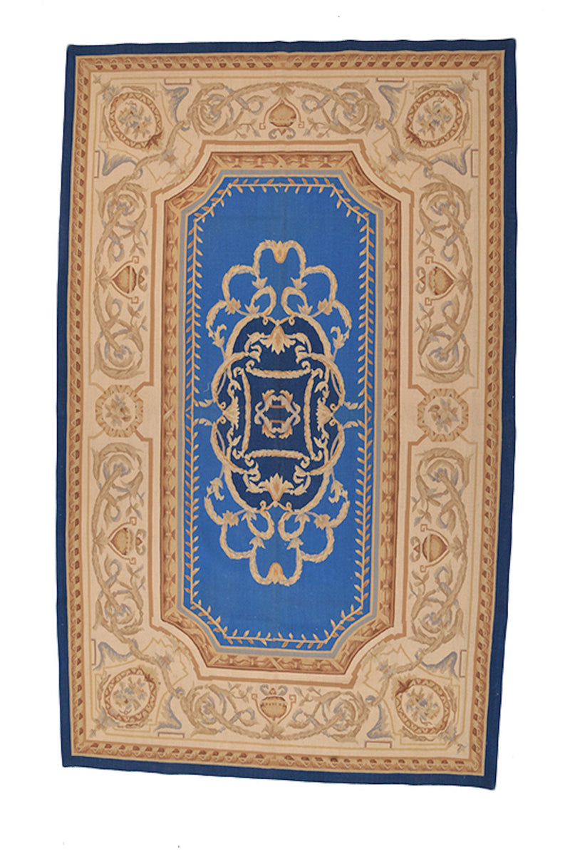 French Inspired Vintage Handmade Traditional Beige Persian Rug, Oriental Antique Floor Decor Medium Rug, Hand Knotted Floor Design Rug