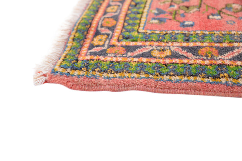 5 x 3 Ft Area Rug | Coral Antique Rug | Orange Vintage Rug | Green Floral Pattern | Wool Medium Pile Rug | Persian Caucasian Rug
