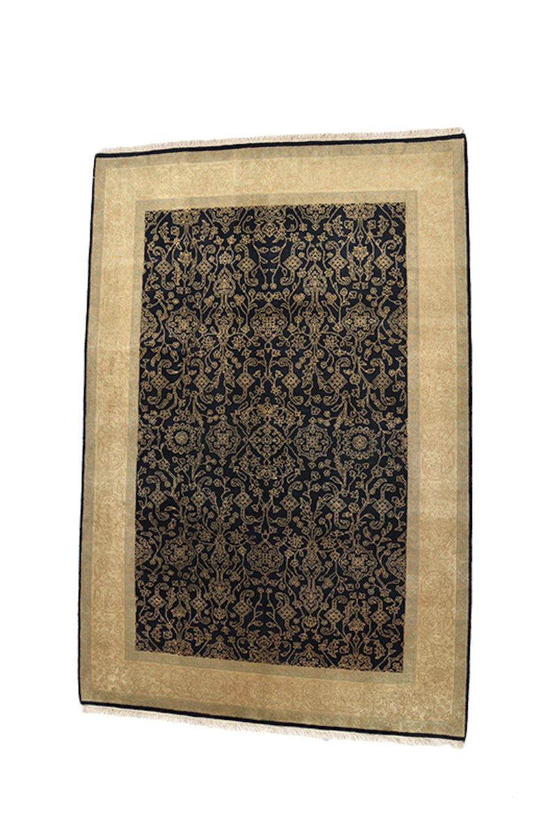 Black Oriental Rug | Gold Black Rug | Hand Knotted Rug | 4 x 6 Ft Area Rug | Traditional Rug | Decorative Rug