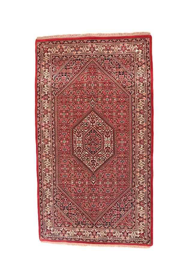3x5 Red Antique Oriental Rug | Hexagon Medallion with Floral Pattern | Hand Knotted with Wool | Accent Home Rug