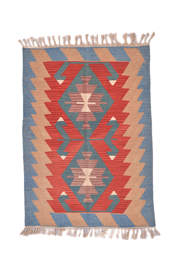 Turkish Kilim 3 x 4 Rug | Geometric Coral Blue Accent Rug | Tribal Wool Southwestern Style