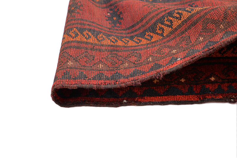 Deep Red Vintage Rug 9.5 x 6.6 feet, Orange Navy Tribal Accents Large Wool Rug
