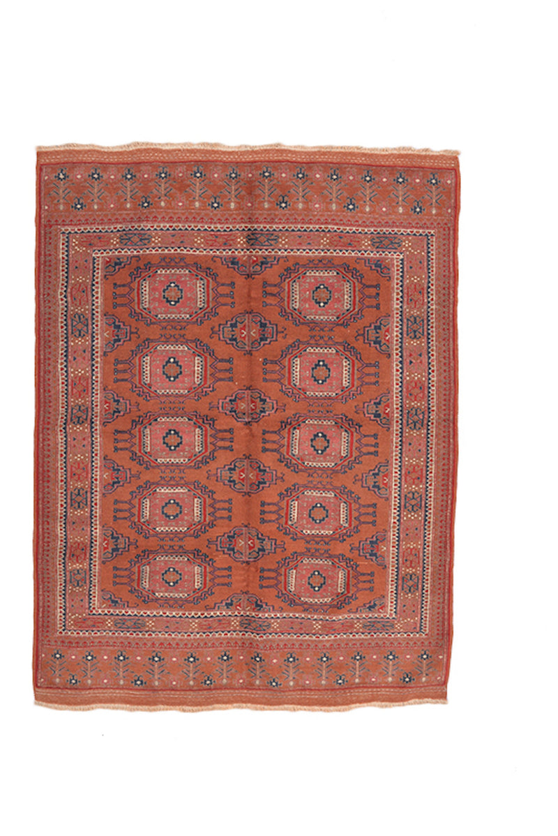 Orange Red 4x5 Area Rug | Bohemian Turkish Rug | Geometric Hand Knotted Rug | Vintage Wool Rug