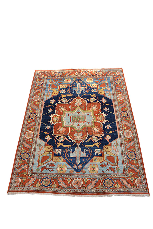 Rug 8x10 Feet Tribal Turkish Navy Blue Orange, Large Center Medallion Oriental Style with Floral Details, Antique Wool Hand Knotted Rug