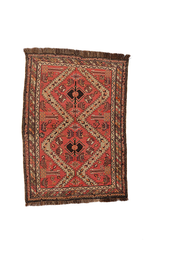 Coral Brown Ikat Rug | 3 x 5 Feet | Geometric Rug | Bright Boho Rug | Accent Rug | Wool Handwoven Rug | Persian Kazak Rug