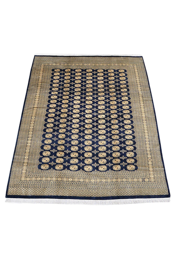 Navy Yellow Antique Rug, 8x10 Ft, Oriental Classic Rug, Large Bordered Traditional Rug, Wool Handwoven