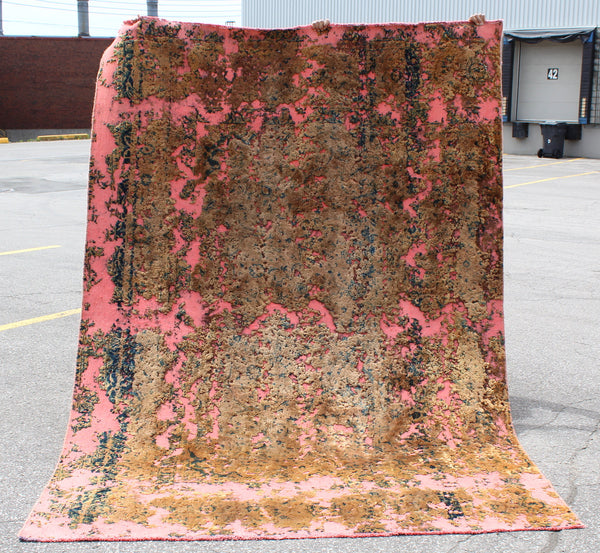 Vintage Pink Area 7 x 9 Pink Gold Brown Area Rug | Restored Rug | Modern Eclectic Rug | Wool Persian Style Rug
