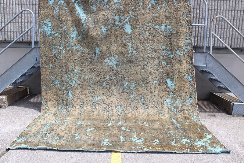 Bronze Turquoise 6x9 Vintage Restored Persian Rug | Industrial Modern Style | Hand Knotted with Wool , Shaved and Overdyed