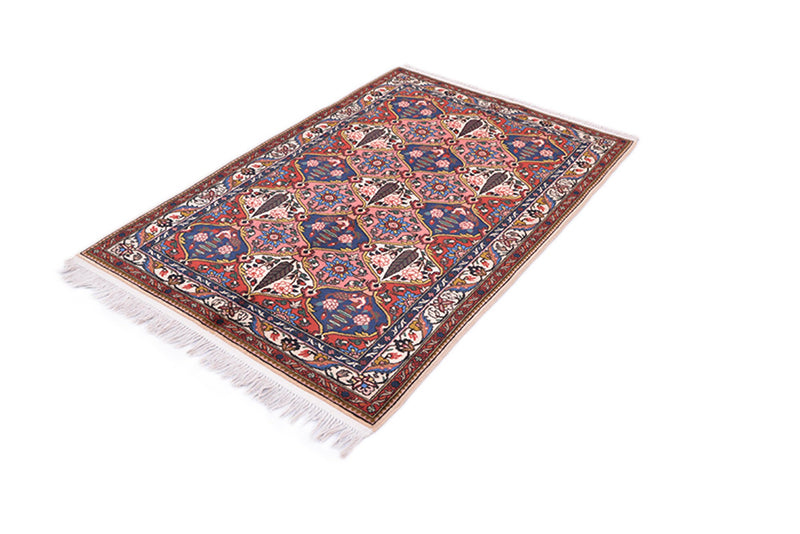 Pink Vintage Persian 3x5 Rug | Navy Floral Medallion | Oriental Pattern | Coral Color Hand Knotted Wool Antique Area Rug