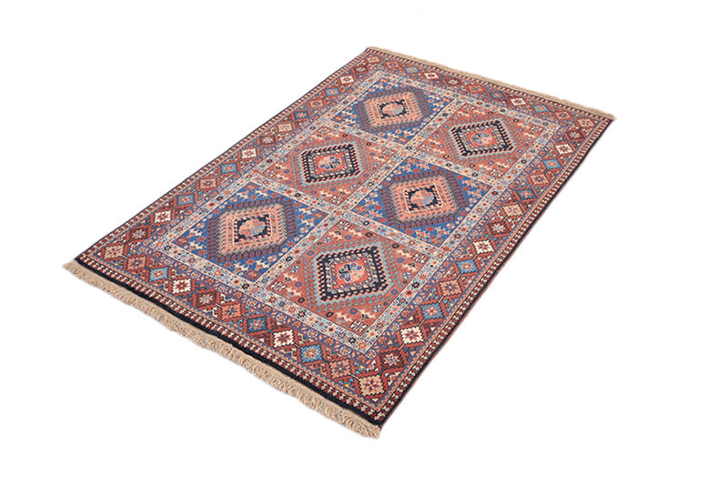 Hand Knotted 3x4 Area Rug | Red Blue Multi Medallion | Geometric Tribal Style | Rustic Home Decor | Kitchen Entryway Rug