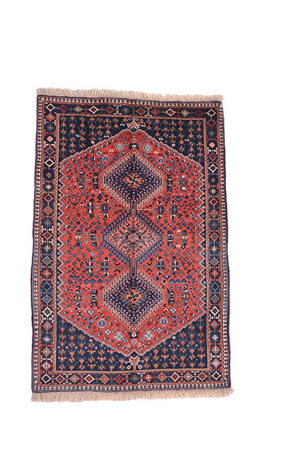 Dark Pink Tribal Vintage Rug | 3x5 Wool Handmade Accent Rug with Navy Blue Border