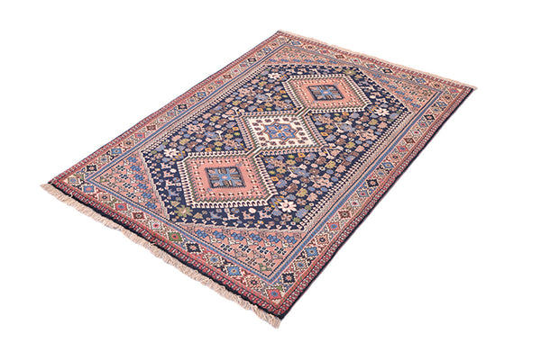 Dusty Pink and Navy Blue Hand Woven Vintage Area Rug | 3 x 5 Wool Geometric Tribal Pattern Oriental Kitchen Entryway Accent