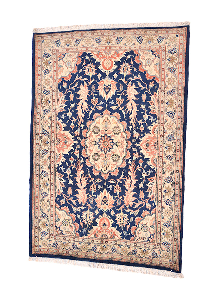 Navy Beige 3x5 Floral Rug with Coral Oriental Details | One of a Kind Accent Vintage Area Rug | Oval Medallion Rug made of Wool