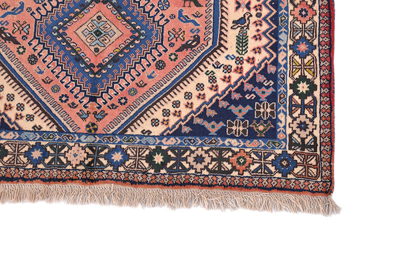 3 x 5 Pink Blue Beige Vintage Rug | Three Central Tribal Diamond Medallions | Rustic Bohemian Persian Style Wool Area Rug