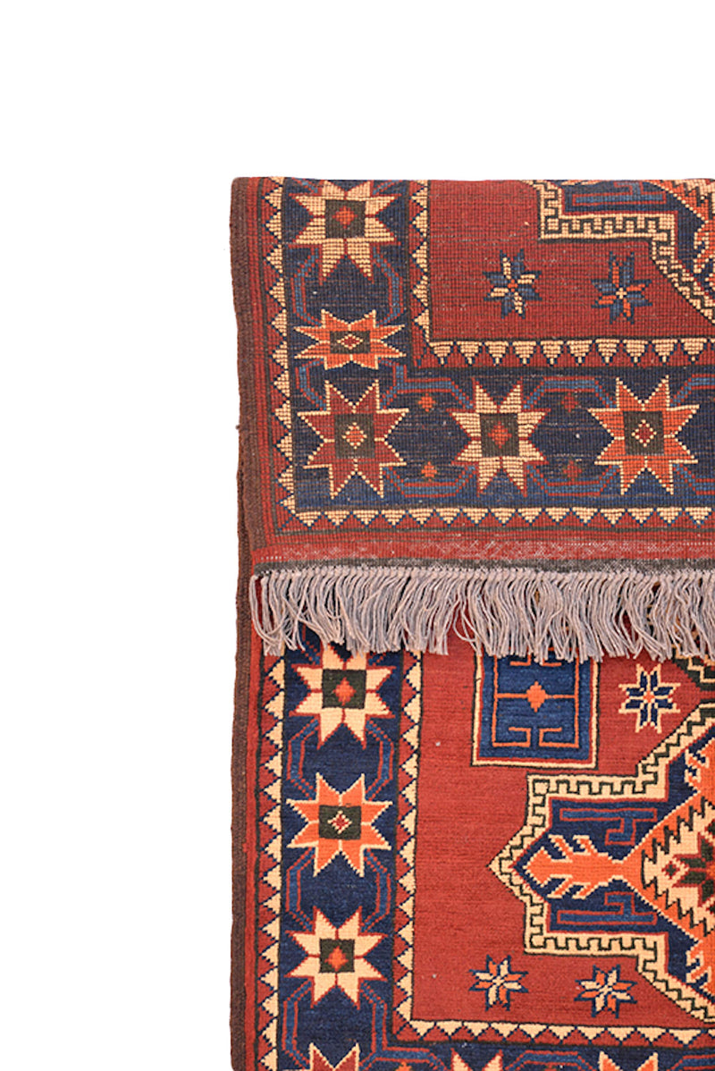 Orange Tribal Vintage Handmade Area Rug  | 3 x 4 Geometric Beige and Blue Medallions with Blue Star Pattern Border Soft Pile with Dyed Wool