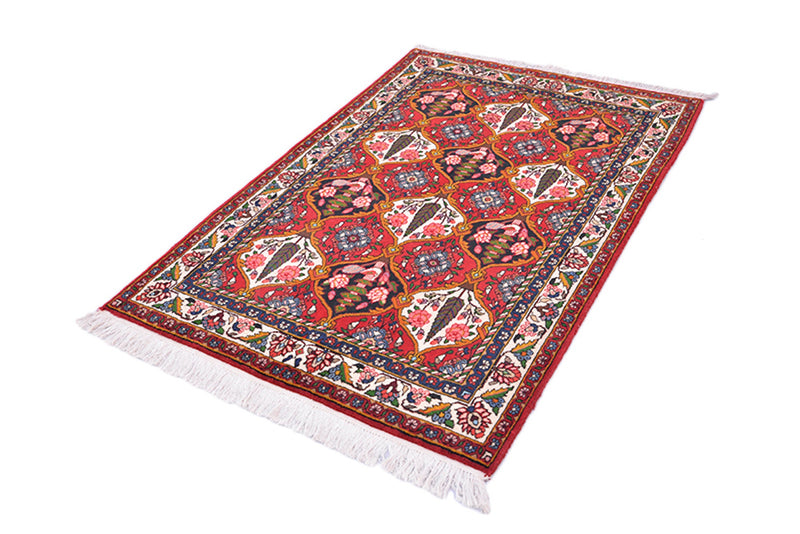 Red Vibrant Colorful Antique Rug | Teardrop Design Oriental Details Colorful Antique Rug | 3x5 Accent One of a Kind Hand Knotted Rug