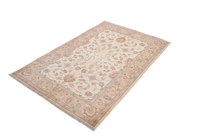 4 x 6 Beige Antique Rug | Farmhouse Style Entryway or Kitchen Area Rug with Floral Border and Light Colored Designs | Wool Handmade