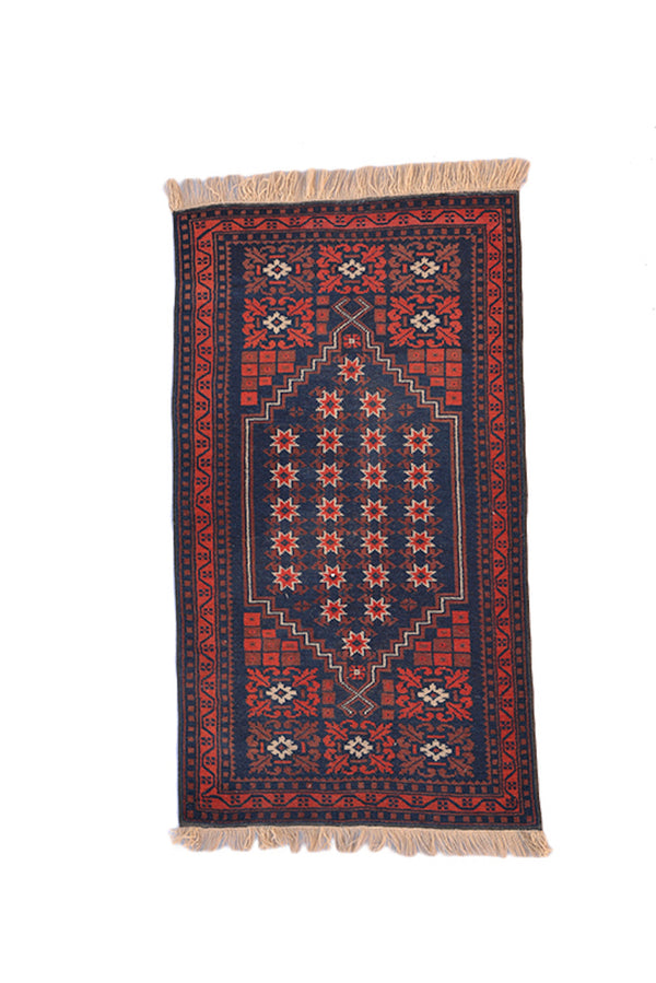 Vintage Navy and Red 3x4 Handmade Rug | One of a kind Dark Geometric Oriental Rug | Kitchen Accent Rug For Rustic Style Home | Hallway Rug