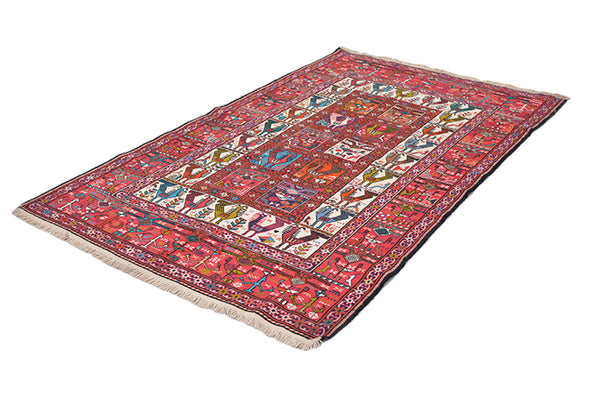 One of a kind Colorful Antique Rug | 4 x 7 Persian Caucasian Rug | Living Room Rug | Accent Handmade Wool Rug | Animal Print Pattern Rug