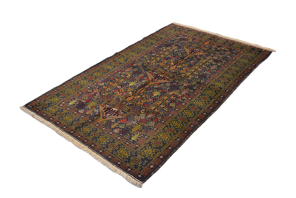 One of a kind Purple Green Antique Rug | 4 x 7 Style Caucasian Rug with Yellow Details | Living Room Accent Hand Woven Wool Rug