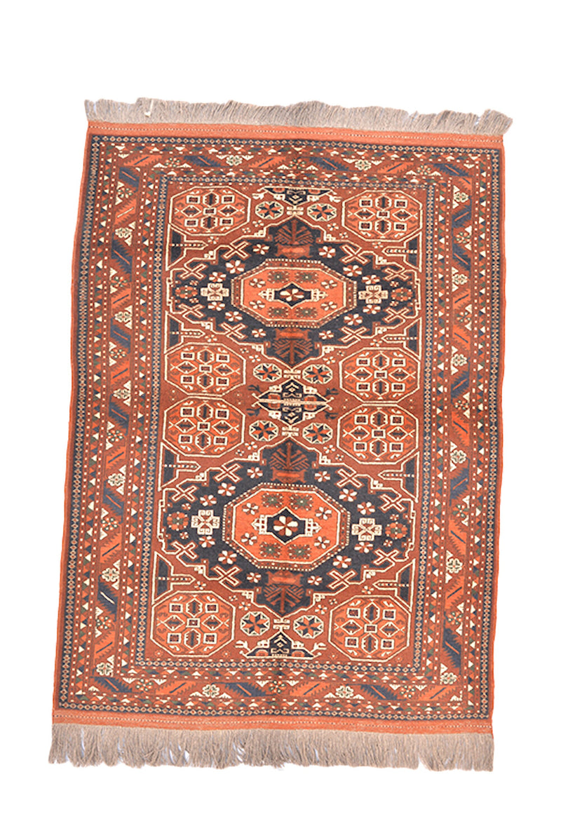 4 x 6 Orange Blue Tribal Geometric Rug| Handmade Oriental Wool Area Rug | Vintage Caucasian Persian Rug | Living Room Entryway Rug