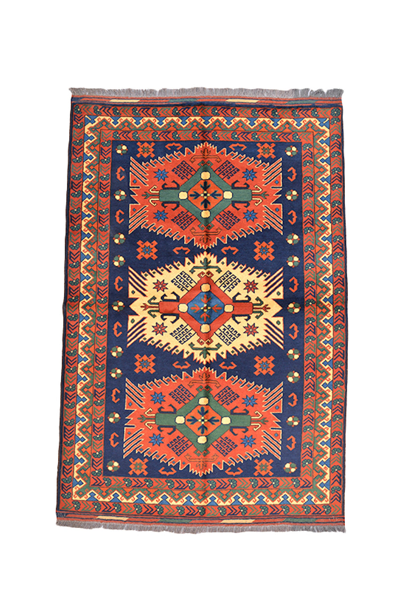 One of a kind Orange Blue Antique Rug | 4 x 6 Turkish Caucasian Rug | Living Room Rug | Accent Hand Knotted Wool Rug | Geometric Pattern