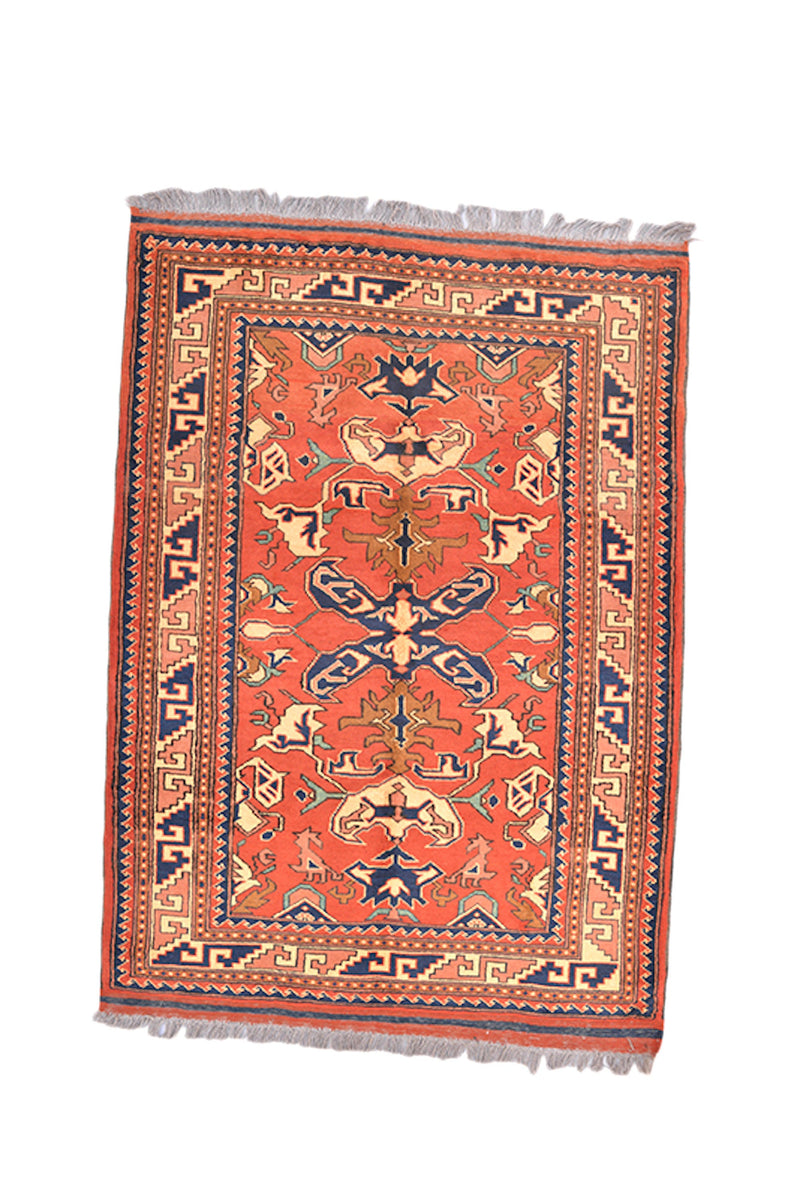 Orange Navy Hand Knotted 3x5 Area Rug | Antique Oriental Tribal Pattern | Kitchen Rug | Entryway Wool Accent Rug