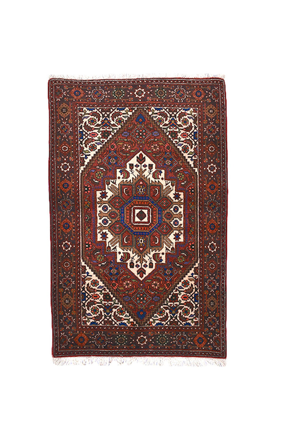 3x5 Red Purple Persian Style Turkish Rug | Geometric Hexagon Medallion Rug | Tribal Hand Knotted Rug | Antique Vintage Rug