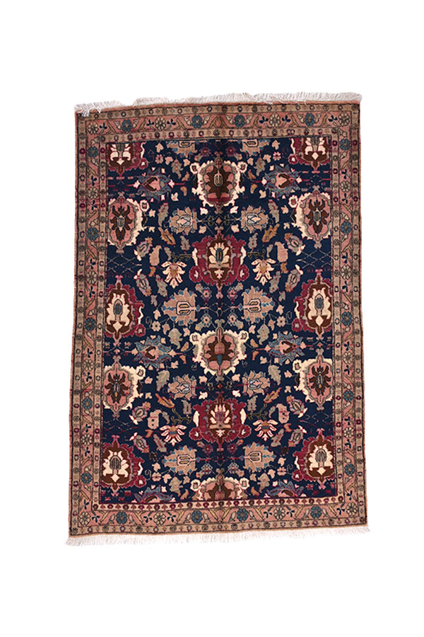 Floral Navy Beige 3x5 Rug | Vintage Persian Kazak Rug | Pink Bordered Rug | Wool Accent Area Rug