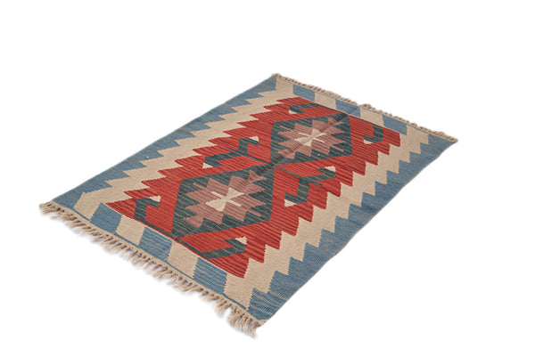 3 x 4 Orange Beige Tribal Rug | Hand Knotted Wool Area Rug | Flatweave Low Pile Tribal Rustic Colored Ruge