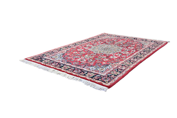 4 x 6 Red Oriental Medallion Rug | Handmade One of a Kind Persian Design | Home Accent Rug