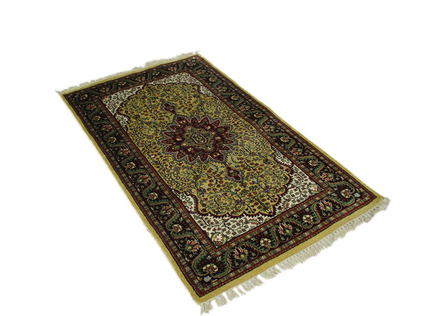 One of a kind Green Brown Antique Rug | 3 x 5 Persian Caucasian Rug | Living Room Rug | Accent Hand Woven Rug | Oriental Floral Pattern Rug