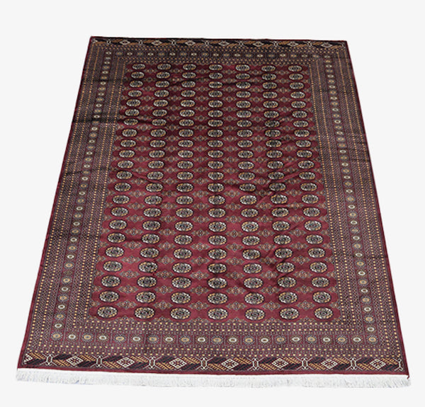 8 x 10 Dark Red Oriental Antique Rug | Bordered Rug with Repeating Geometric Pattern | Soft Wool with Thick Pile | Oversized Living Rug