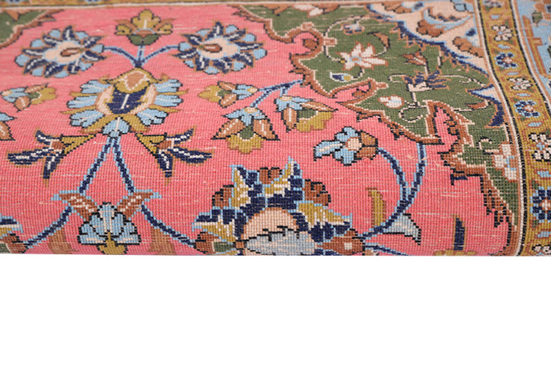 3 x 4 Antique Coral Pink and Blue Rug | Luxury One of a Kind Oriental Medallion Rug | Bright Colored Unique Rug made with Wool