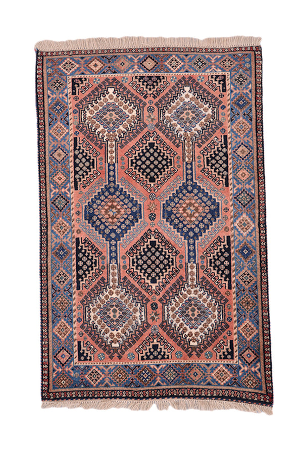 Pink Blue Hand Knotted 3x4 Rug | Geometric Tribal Medallion Rug | Border made of Small Medallions | Wool Antique Vintage Rug