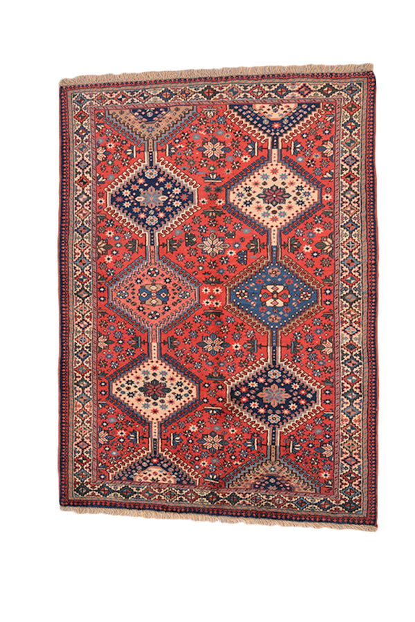 Colorful Hand Knotted Tribal Area Rug | Orange Coral Hues with Tribal Geometric Diamond PAttern and Floral Details | Bohemian Style