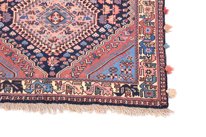 One of a kind Pink Blue Antique Rug | Small Persian Caucasian Rug | Living Room Rug | Accent Hand Knotted Wool Rug | Oriental Geometric Rug