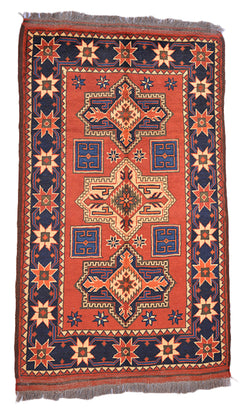 2 x 4 Rust Orange Blue Turkish Hand Woven Area Rug | Tribal Geometric Rug with Navy Border with Star Shapes